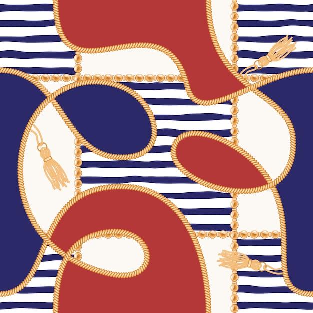 Цепи, кисточки и веревки морской бесшовные модели для летнего дизайна ткани. Premium векторы