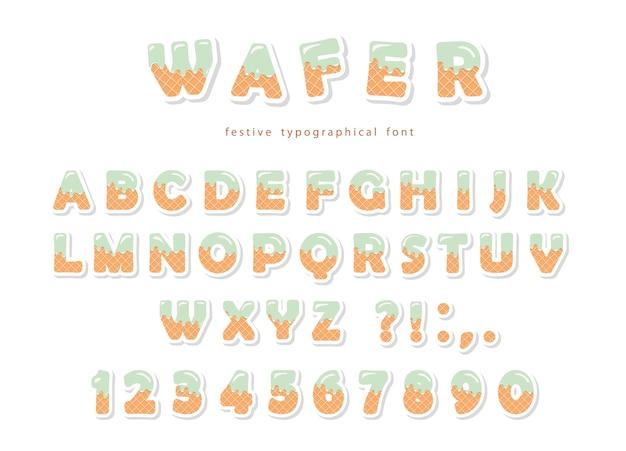ウェーハフォントかわいい甘い文字と数字 Premiumベクター