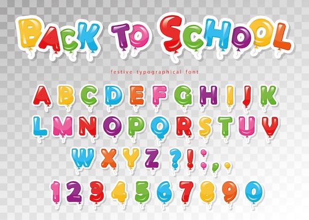 学校に戻る。子供のためのバルーンカラフルなフォント。 Premiumベクター