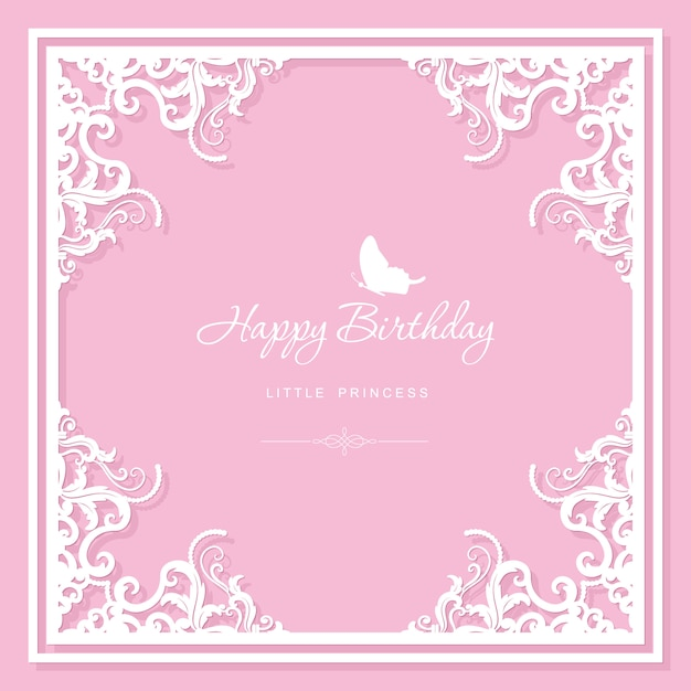 Элегантная декоративная рамка. шаблон поздравительной открытки день рождения. Premium векторы