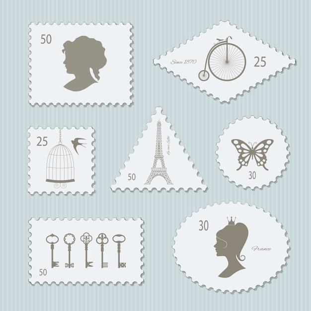 Старинные почтовые марки различной формы установлены Premium векторы
