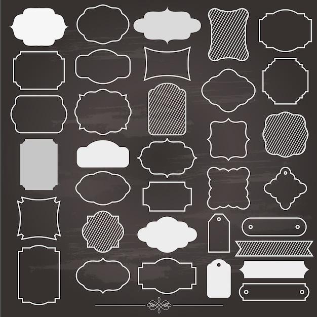 空白のフレームと黒板に設定されたラベル Premiumベクター