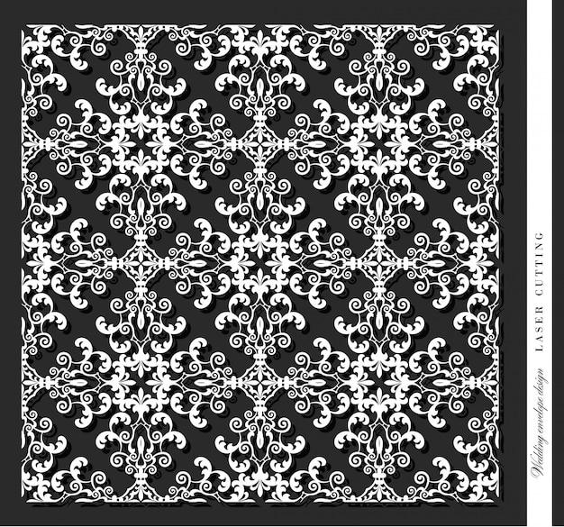 Лазерная резка декоративной панели. дамаск. Premium векторы