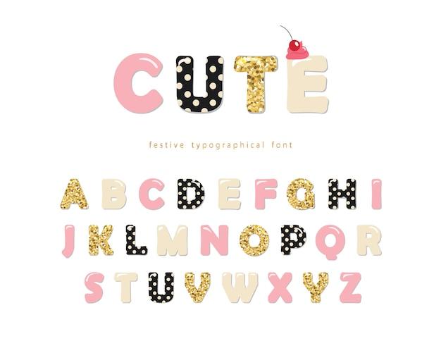 Милый девчачий шрифт Premium векторы