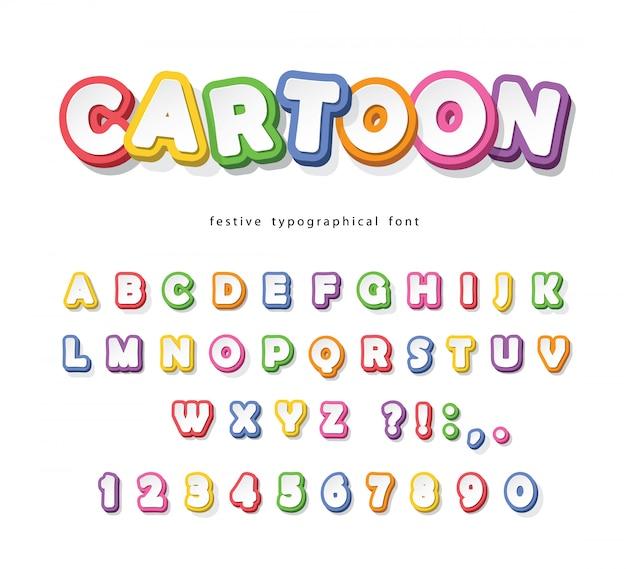 子供のための漫画の明るいフォント。紙はカラフルなアルファベットをカットしました。 Premiumベクター
