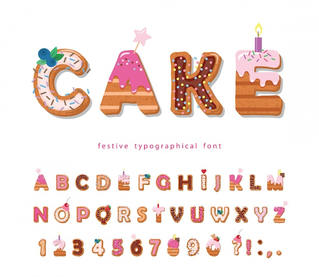 Торт мультфильм шрифт. милые сладкие буквы и цифры для дизайна дня рождения. Premium векторы