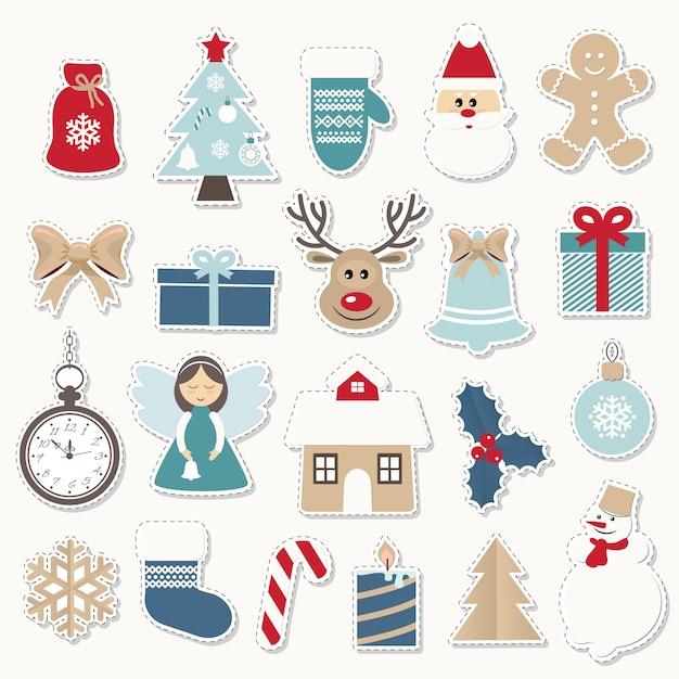 クリスマスと新年のお祝いステッカーセット。 Premiumベクター