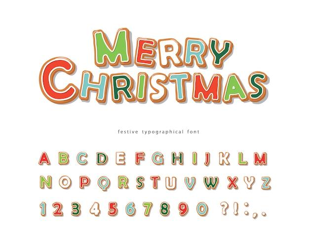 文字と数字のクリスマスジンジャーブレッドクッキーフォント Premiumベクター
