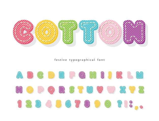 Мультфильм красочный шрифт для детей. текстура хлопка алфавит. Premium векторы