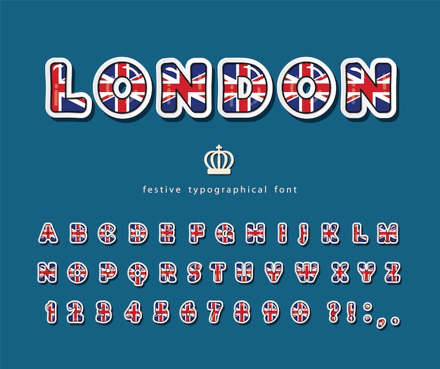 Лондонский шрифт цвета британского национального флага. Premium векторы