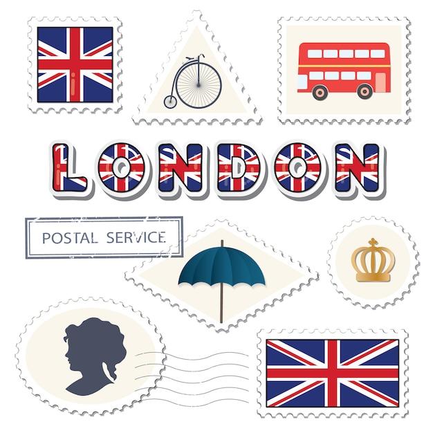 ロンドンの郵便料金セット Premiumベクター