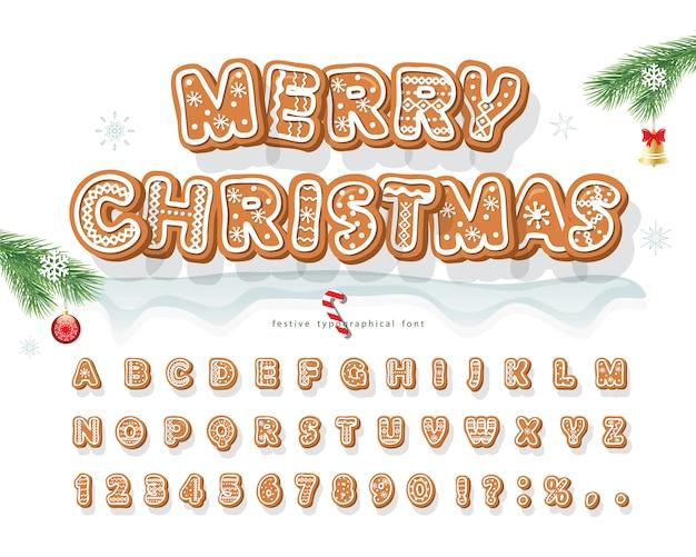 クリスマスジンジャーブレッドクッキーフォント。 Premiumベクター