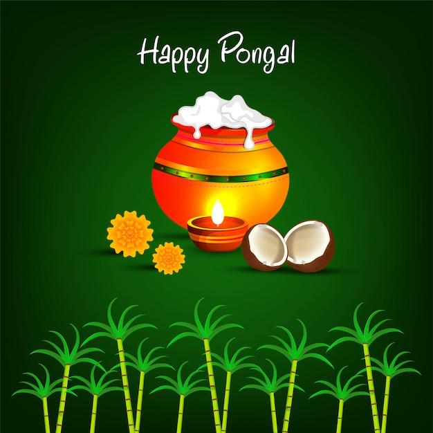 南インドのハッピーポンガル宗教祭。 Premiumベクター