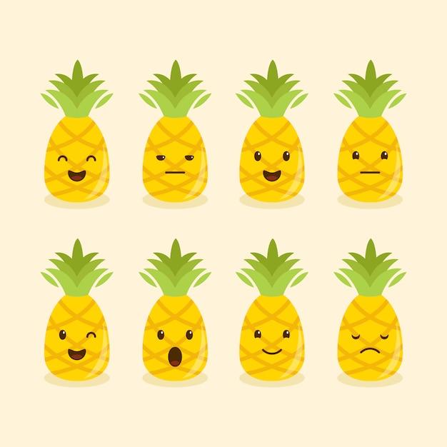パイナップルの異なる表現または感情セット Premiumベクター