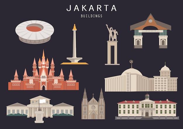 孤立したジャカルタインドネシアビルディングランドマークのセット Premiumベクター
