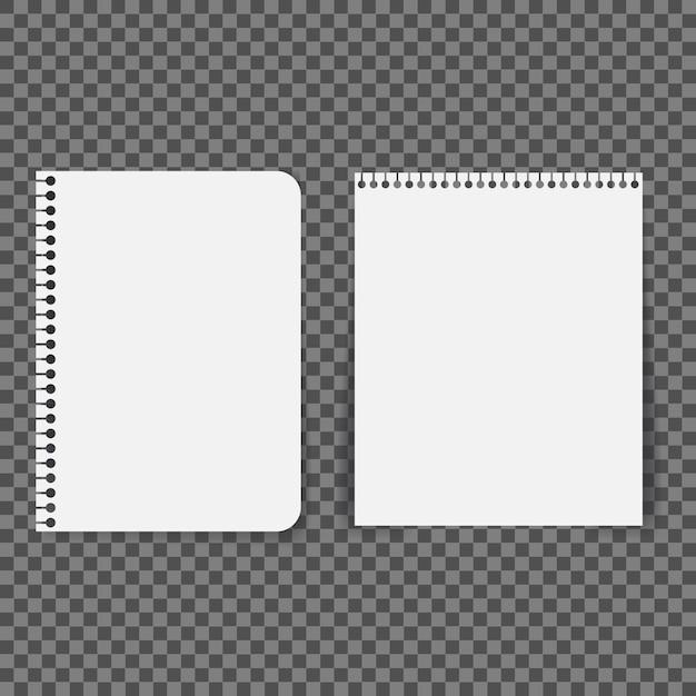 空白の紙は、透明な背景にスパイラルで接続されています。 Premiumベクター