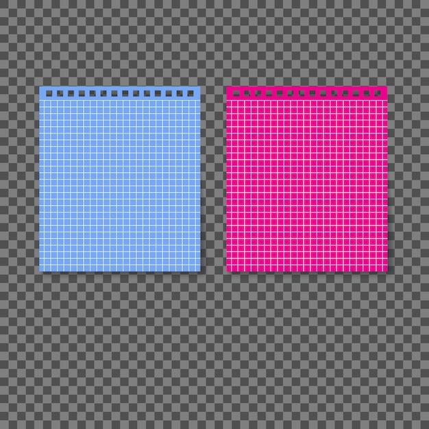 透明な背景にスパイラルと接続されている異なる色の白紙。 Premiumベクター