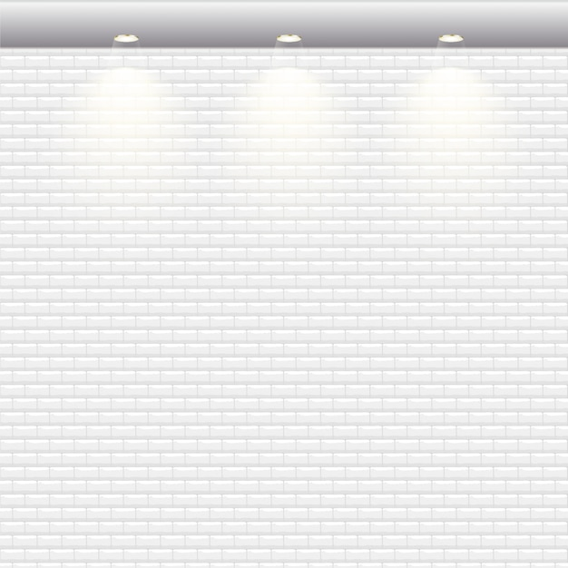 白いレンガの壁のベクトルの背景。 Premiumベクター