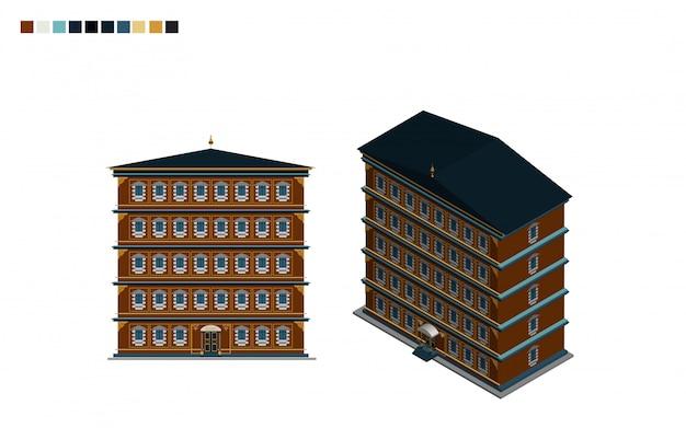 庁舎建築様式の等尺性行政住宅 Premiumベクター