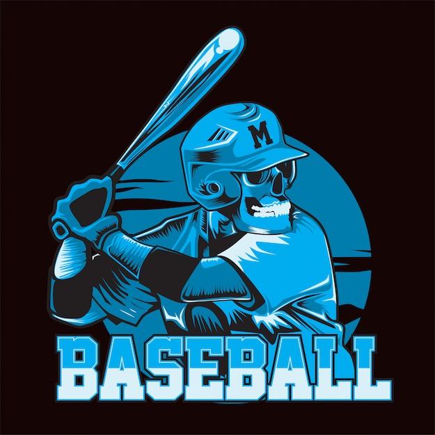 スカル野球ブルー。野球選手は打つ準備ができています Premiumベクター