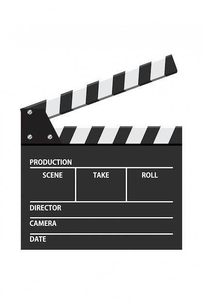 映画クラッパーボードベクトルイラスト。ビデオアイコン。映画産業 Premiumベクター