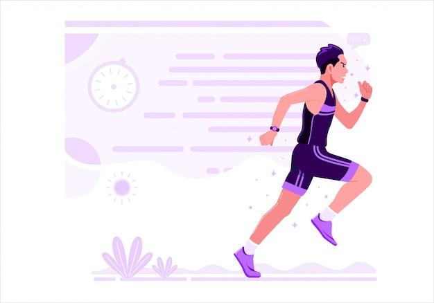 実行中の男性運動スポーツベクトルイラストフラットデザイン。紫色の制服を着た男がマラソンランを練習しています。 Premiumベクター