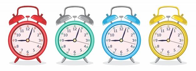 さまざまな色の金属製目覚まし時計 Premiumベクター