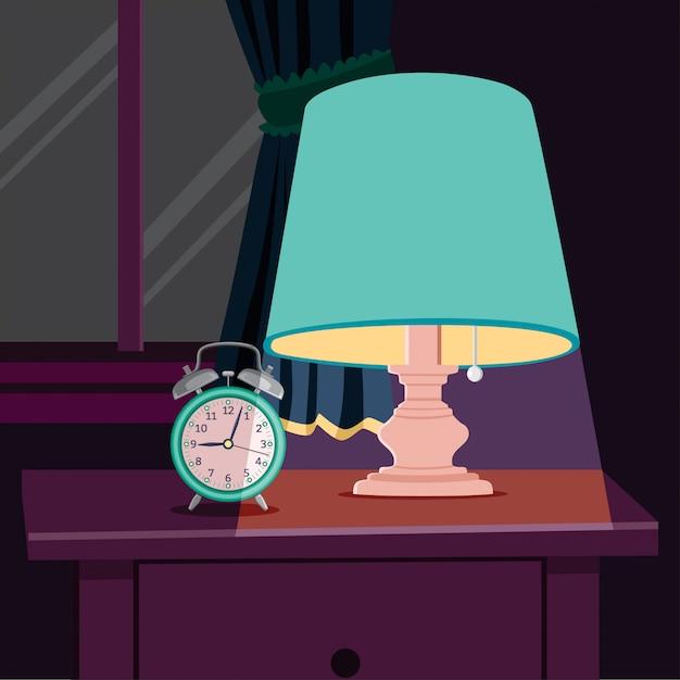 ナイトライトとベッドサイドテーブルの目覚まし時計 Premiumベクター