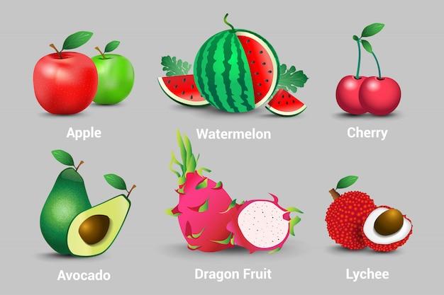 現実的な新鮮な有機ベジタリアンフルーツのコレクション。リンゴ、スイカ、チェリー、アボカド、フルーツ、ドラゴン、ライチ Premiumベクター