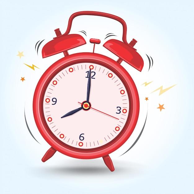 赤い目覚まし時計は朝の活動図の準備が早く鳴ります Premiumベクター