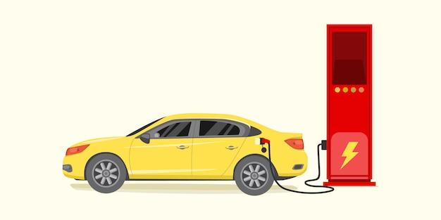 電気自動車の充電ステーションで充電ベクトル図 Premiumベクター