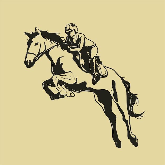 Жокей на прыжковой лошади Premium векторы