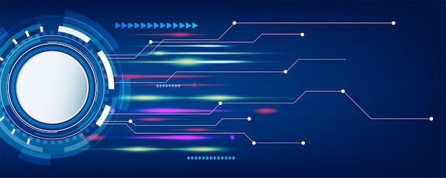 ダークブルーのテクノロジーとハイテクの抽象的なバナーの背景 Premiumベクター