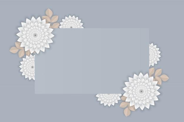 灰色の背景上のフレームに白い花の紙の芸術 Premiumベクター