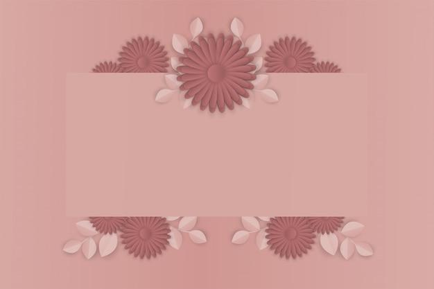 フレームの背景に花の紙の芸術 Premiumベクター