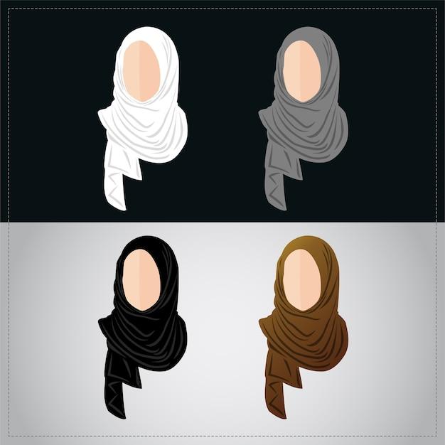 ヒジャーブを着たイスラム教徒の女性たち Premiumベクター