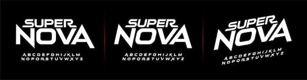 スポーツの将来のモダンなアルファベットのフォント。技術タイポグラフィー Premiumベクター