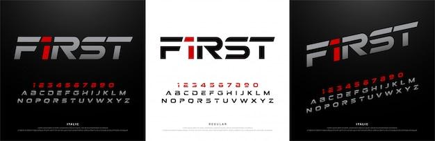 スポーツ現代のアルファベットのフォント。技術タイポグラフィ Premiumベクター