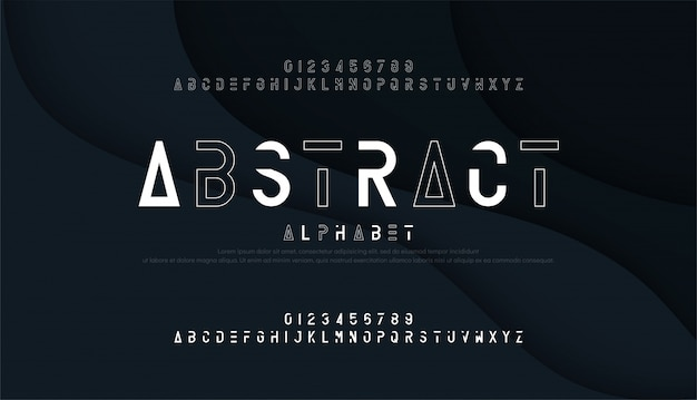 Абстрактный тонкая линия шрифт и цифры минимальный алфавит Premium векторы