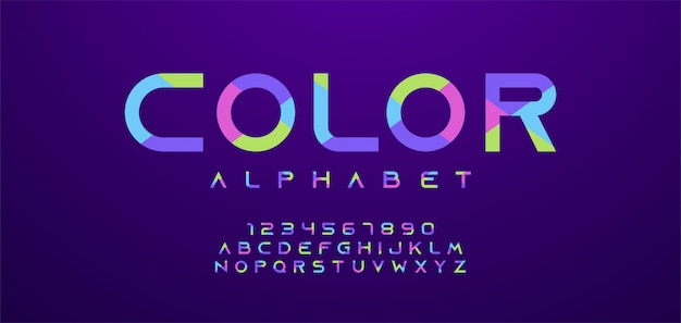 カラフルな文字と数字のフォントです。現代のアルファベット Premiumベクター