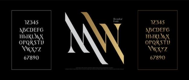 Элегантный алфавит букв шрифта классическая надпись Premium векторы