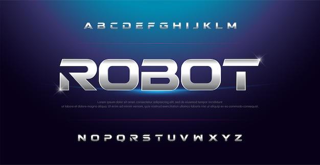 Элегантный спортивный серебряный металлический хром алфавитный шрифт Premium векторы