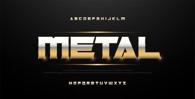 Элегантный серебряный и золотой металлический шрифт Premium векторы