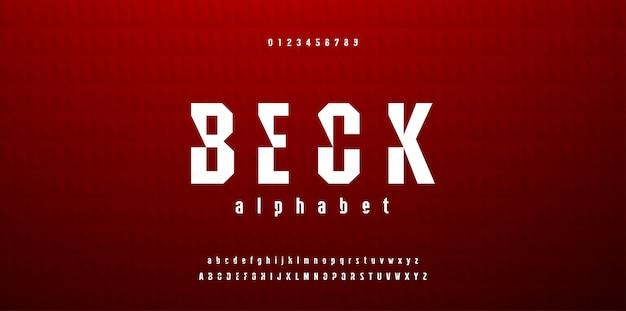Современный абстрактный спортивный шрифт алфавит и цифры Premium векторы