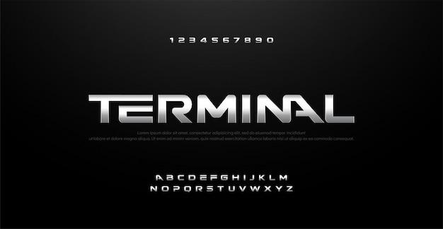 Фильм серебряный металл хром алфавит типография шрифт Premium векторы