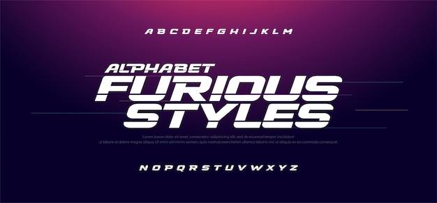 Спорт современный быстрый форсаж курсивный шрифт Premium векторы