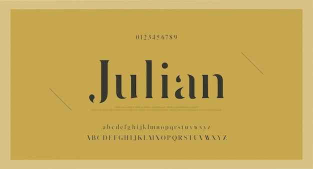 エレガントなクラシックアルファベット文字フォントと番号 Premiumベクター