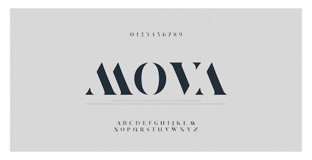 Элегантный классический алфавит букв шрифта и цифры Premium векторы