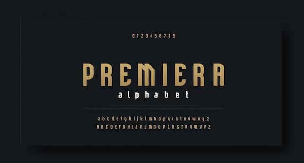 Сжатый современный роскошный шрифт алфавитный шрифт Premium векторы