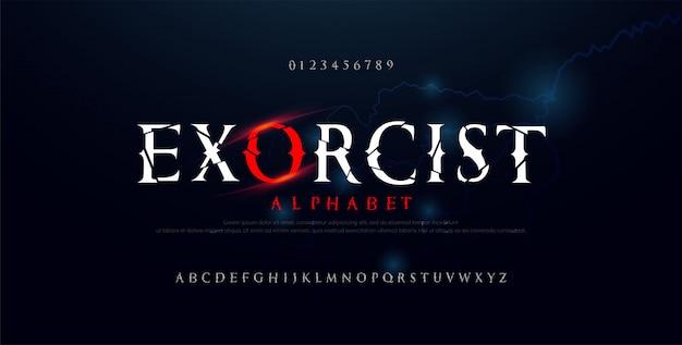 Страшный фильм ужасов алфавит шрифта. типография сломан дизайн для хэллоуина Premium векторы